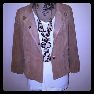 NWT Chico's Black Label Cropped Faux Suede Jacket
